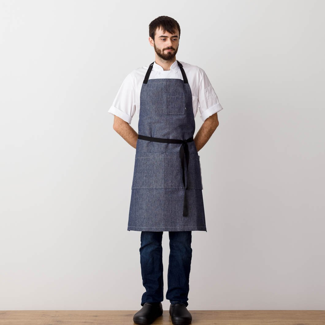 Chef 's Apron, Blue Denim with Black Straps, Front view, Men or Women-The Reluctant Trading Experiment
