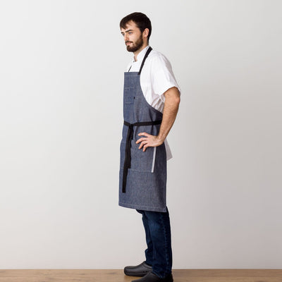 Chef 's Apron, Blue Denim with Black Straps, Men or Women-The Reluctant Trading Experiment, side view