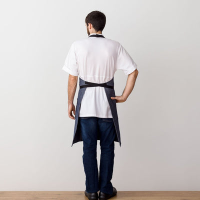Chef 's Apron, Blue Denim with Black Straps, Men or Women-The Reluctant Trading Experiment, rear view