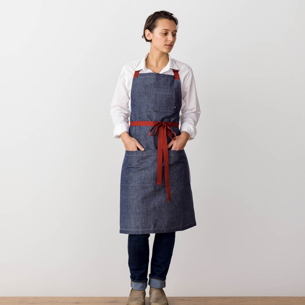 Chef's Apron, Blue Denim with Red Straps, Men or Women-The Reluctant Trading Experiment, front view