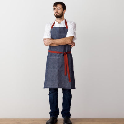 Chef's Apron, Blue Denim with Red Straps, Men or Women-The Reluctant Trading Experiment, model 2