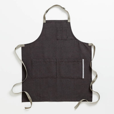 Chef's Apron, Charcoal Black with Tan Straps, Men or Women-Reluctant Trading Experiment