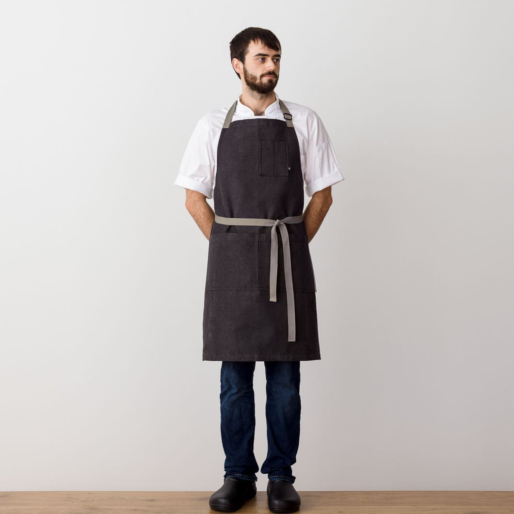 Chef's Apron, Charcoal Black with Tan Straps, Men or Women-Reluctant Trading, model front view