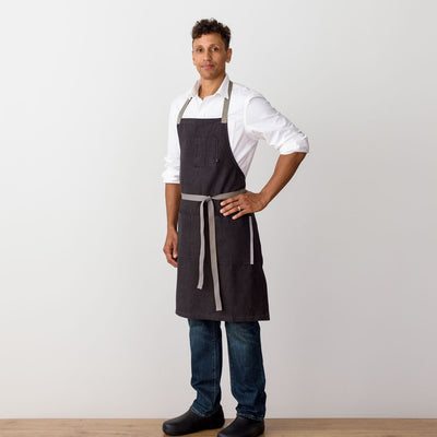 Chef's Apron, Charcoal Black with Tan Straps, Men or Women-Reluctant Trading, model side view