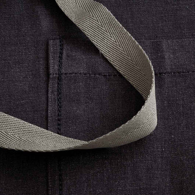 Chef's Apron, Charcoal Black with Tan Straps, detail shot-The Reluctant Trading Experiment