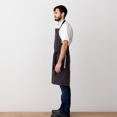 Chef's Apron, Charcoal with Black Straps, Men or Women-Reluctant Trading, model side view