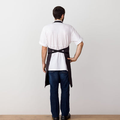 Chef's Apron, Charcoal with Black Straps, Men or Women--Reluctant Trading, model rear view