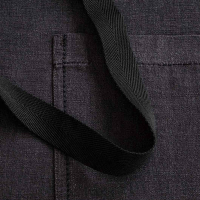 Chef's Apron, Charcoal Black with Black Straps, Men or Women-Reluctant Trading, detail shot