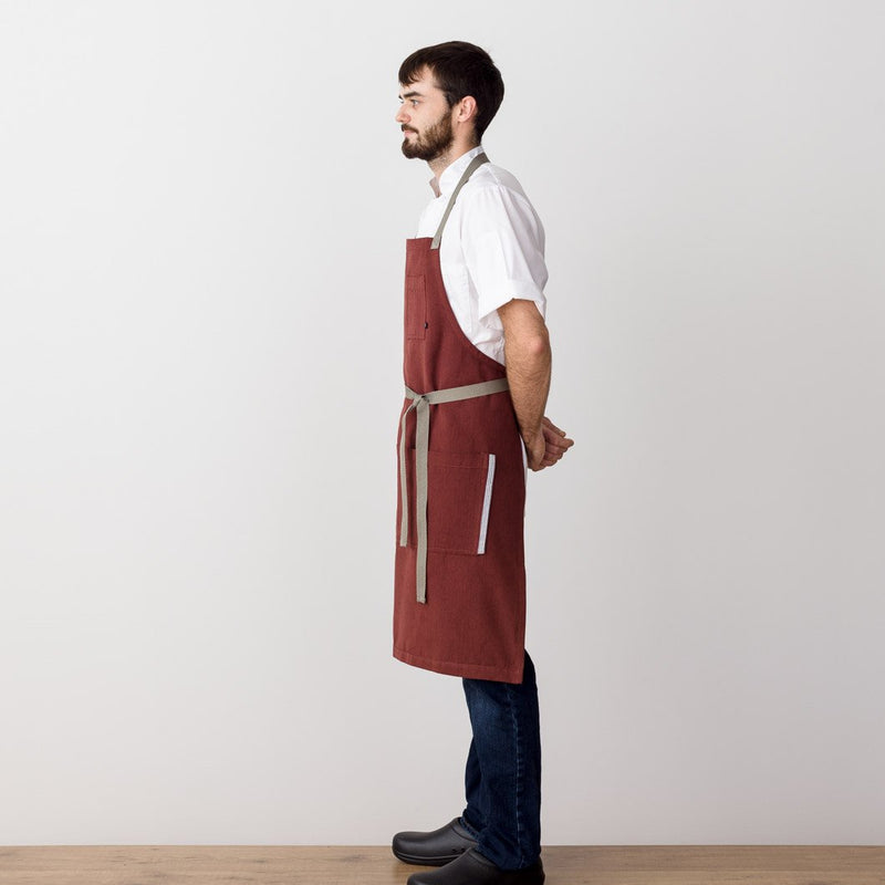 Chef's Apron, Maroon with Tan Straps, Men or Women, Dark Red-Reluctant Trading