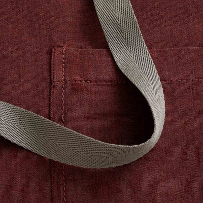 Chef's Apron, Maroon with Tan Straps detail shot, Men or Women, burgundy, red-Reluctant Trading