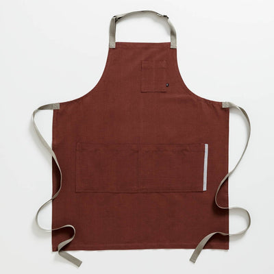 Chef's Apron, Maroon with Tan Straps, Men or Women-The Reluctant Trading Experiment, Red
