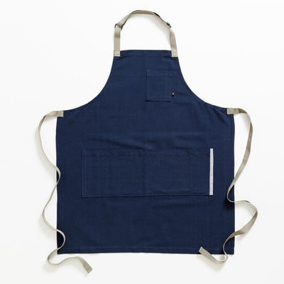 Chef's Apron, Navy with Tan Straps, Men or Women, workwear-Reluctant Trading