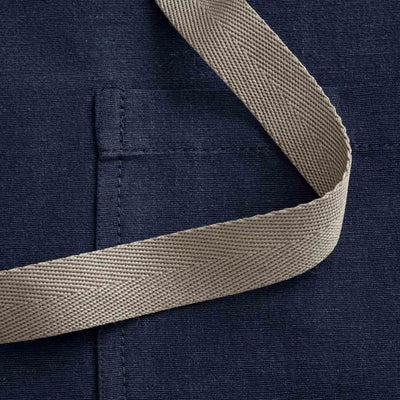 Chef's Apron, Navy with Tan Straps, Detail shot, 100% cotton-The Reluctant Trading Experiment