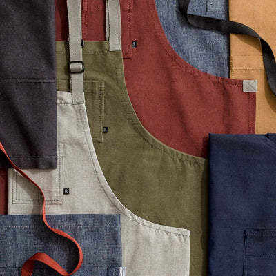 Chef's Apron collection for men and women, cotton, restaurant quality, cool hip colors