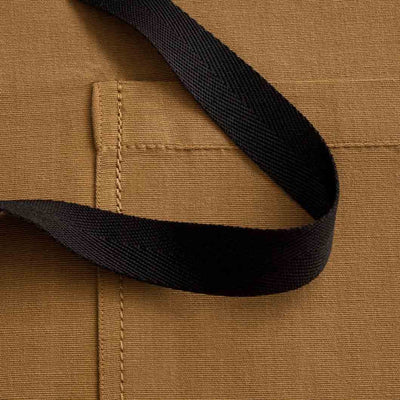 Chef's Apron, Carhartt color with black straps, detail shot, Ochre-Reluctant Trading