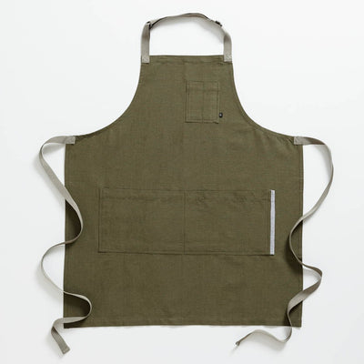 Chef's Apron, Olive Green with Tan Straps, Men or Women, Professional-The Reluctant Trading Experiment