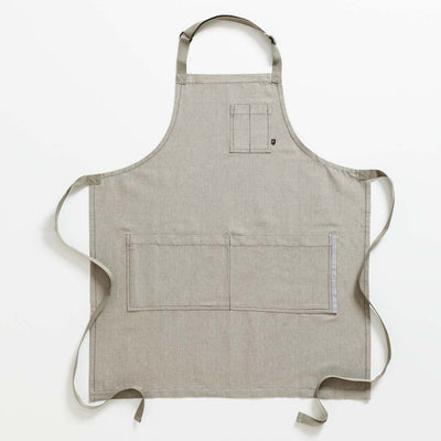 Chef's Apron, Tan with Straps, Men or Women, Professional, Cotton-Reluctant Trading