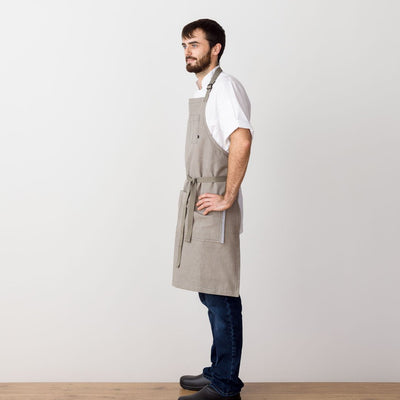 Chef's Apron, Tan-Beige with Straps, Men or Women, model side view- Reluctant Trading
