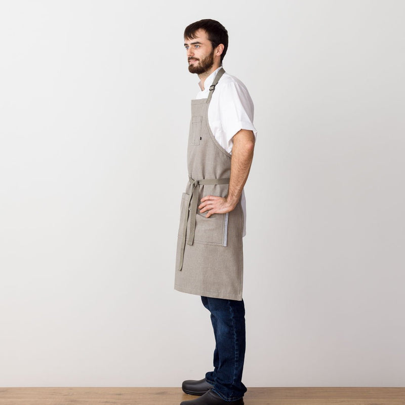 Chef's Apron, Tan, Beige with straps, Men or Women, handmade, model front view, professional- Reluctant Trading