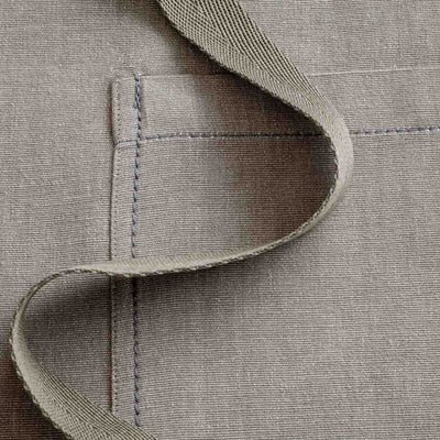Chef's Apron, Tan - Beige, Men or Women, detail shot, handmade fabric-Reluctant Trading