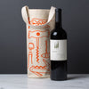 wine gift bag tote canvas modern graphic print corkscrews orange