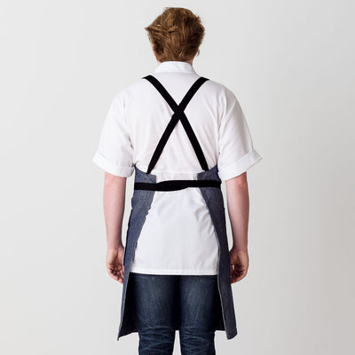 Cross-Back Chef Apron, Blue Denim with Black Straps, Men and Women-[Reluctant Trading Experiment]-