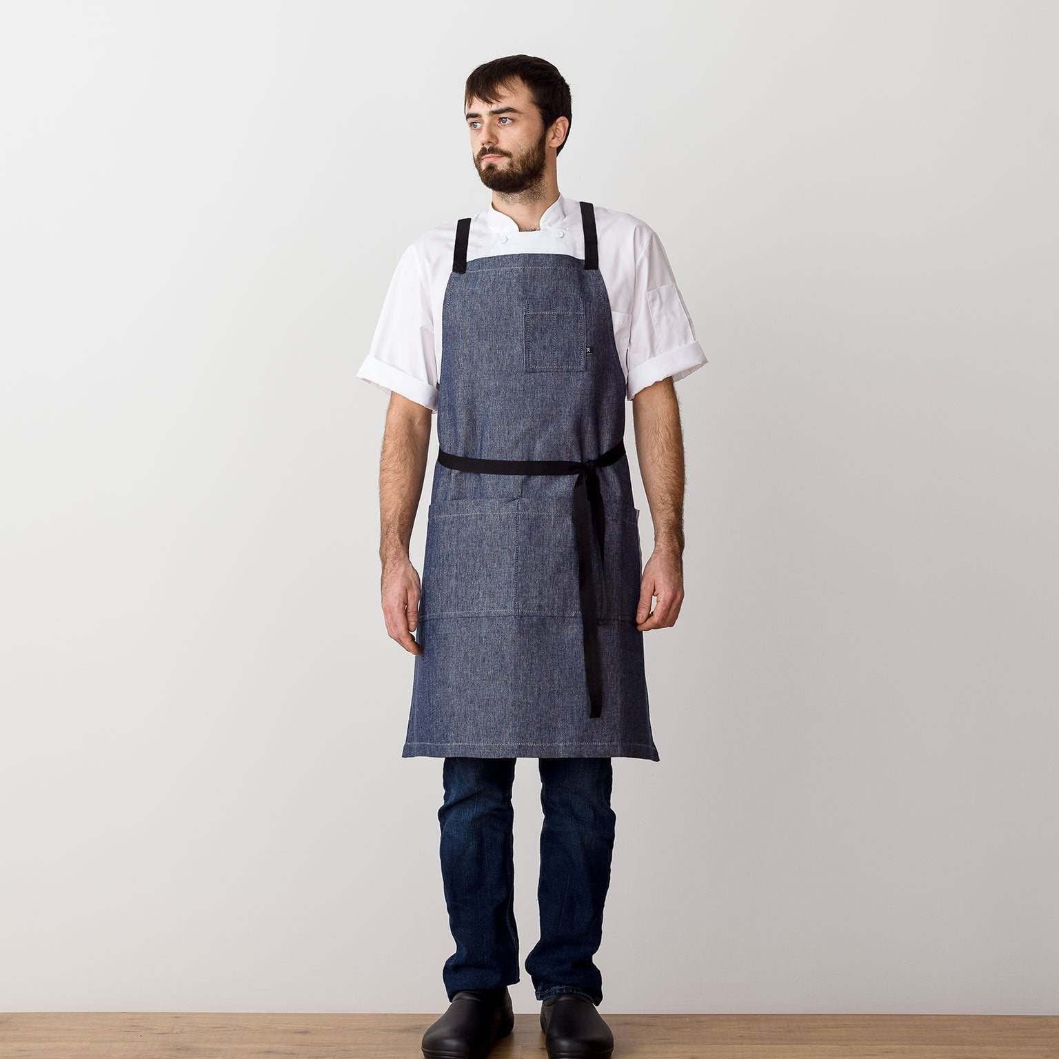 "Cross-Back Chef Apron, Blue Denim with Black Straps, Men and Women-[Reluctant Trading Experiment]-Standard Cross-Back - 34""L x 30""W"