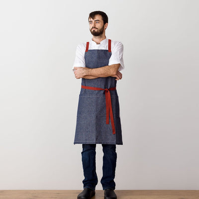 "Cross-Back Chef Apron, Blue Denim with Red Straps, Men and Women-[Reluctant Trading Experiment]-Standard Cross-Back - 34""L x 30""W"