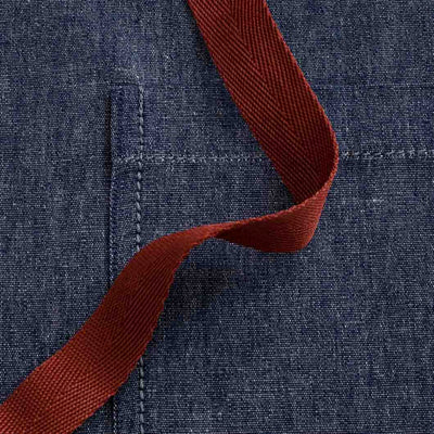 "Cross-Back Chef Apron, Blue Denim with Red Straps, Men and Women-[Reluctant Trading Experiment]-Tall Cross-Back - 37""L x 30""W"