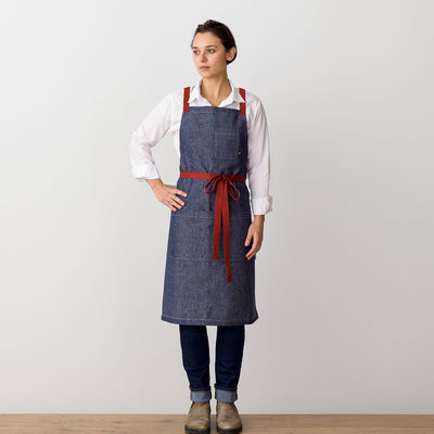 Cross-Back Chef Apron, Blue Denim with Red Straps, Men and Women-[Reluctant Trading Experiment]-
