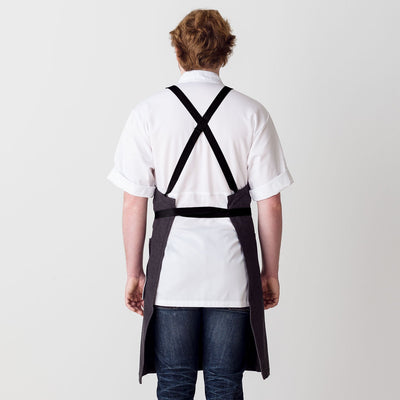 Cross-Back Chef Apron, Charcoal with Black Straps, Men and Women-[Reluctant Trading Experiment]-