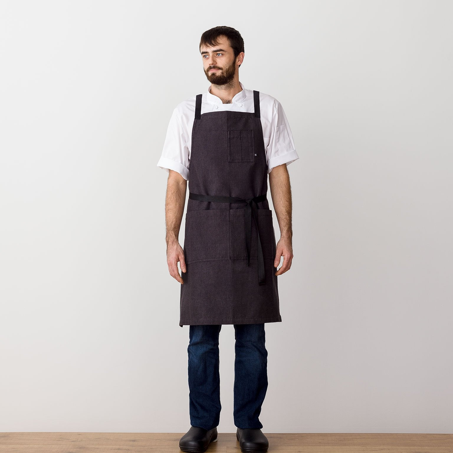 "Cross-Back Chef Apron, Charcoal with Black Straps, Men and Women-[Reluctant Trading Experiment]-Standard Cross-Back - 34""L x 30""W"