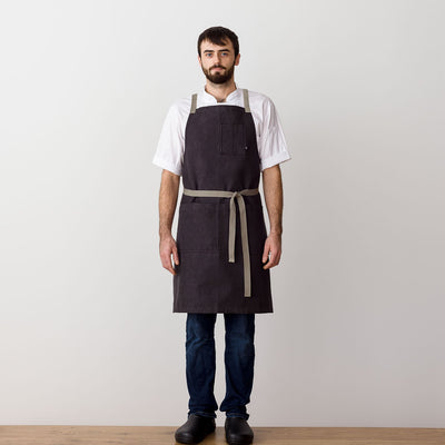 "Cross-Back Chef Apron, Charcoal with Tan Straps, Men and Women-[Reluctant Trading Experiment]-Standard Cross-Back - 34""L x 30""W"