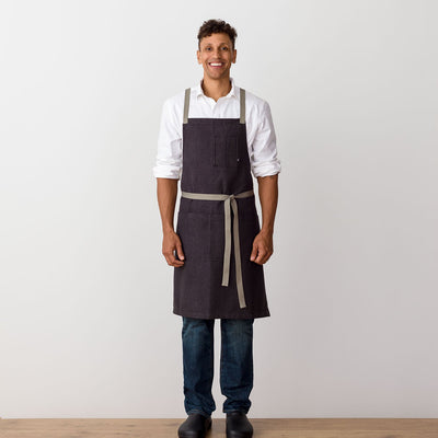 Cross-Back Chef Apron, Charcoal with Tan Straps, Men and Women-[Reluctant Trading Experiment]-
