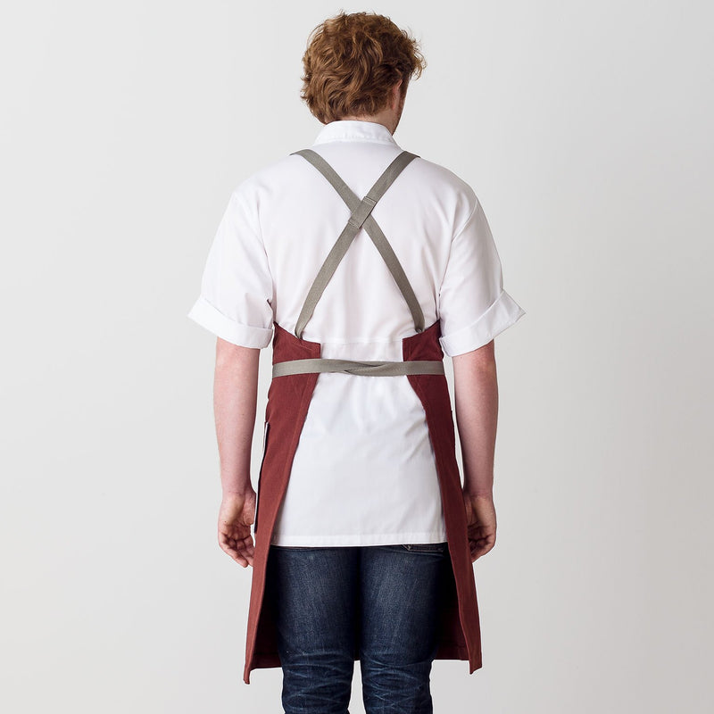 "Cross-Back Chef Apron, Maroon with Tan Straps, Men and Women-[Reluctant Trading Experiment]-Standard Cross-Back - 34""L x 30""W"