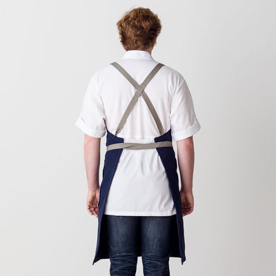 Cross-Back Chef Apron, Navy with Tan Straps, Men and Women-[Reluctant Trading Experiment]-