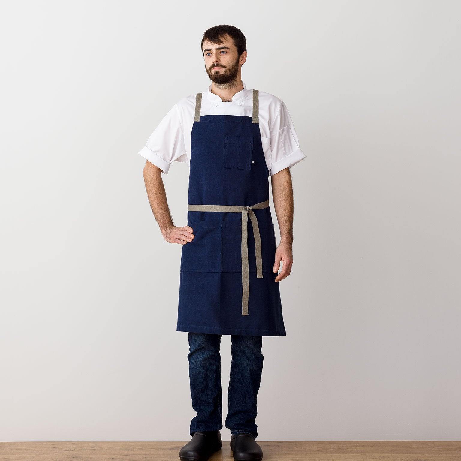 "Cross-Back Chef Apron, Navy with Tan Straps, Men and Women-[Reluctant Trading Experiment]-Standard Cross-Back - 34""L x 30""W"