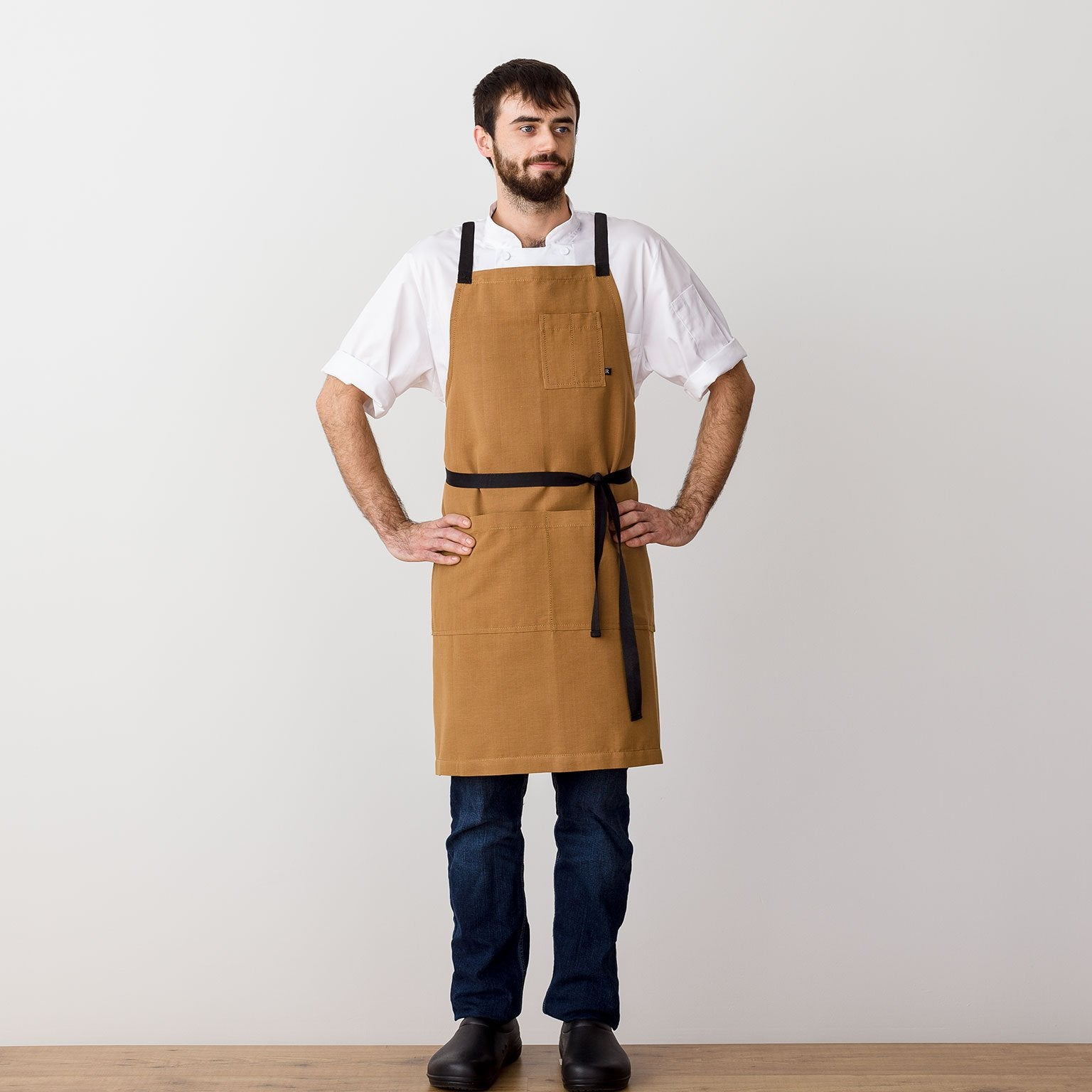 Cross-Back Chef Apron, Ochre with Black Straps, Men and Women-[Reluctant Trading Experiment]-