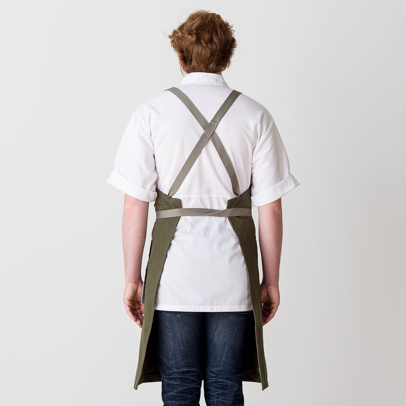 "Cross-Back Chef Apron, Olive with Tan Straps, Men and Women-[Reluctant Trading Experiment]-Standard Cross-Back - 34""L x 30""W"