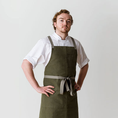 Cross-Back Chef Apron, Olive with Tan Straps, Men and Women-[Reluctant Trading Experiment]-