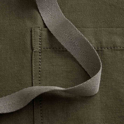 "Cross-Back Chef Apron, Olive with Tan Straps, Men and Women-[Reluctant Trading Experiment]-Tall Cross-Back - 37""L x 30""W"