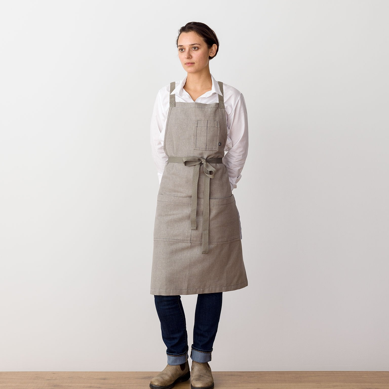 "Cross-Back Chef Apron, Tan with Tan Straps, Men and Women-[Reluctant Trading Experiment]-Standard Cross-Back - 34""L x 30""W"