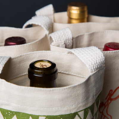 wine gift bag tote canvas retro modern prints