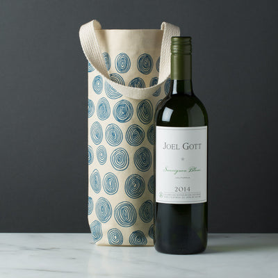 wine gift bag tote canvas modern graphic print circles blue