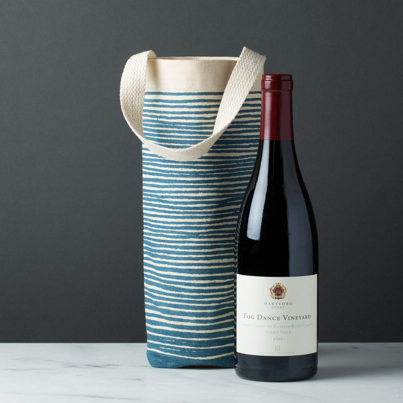 wine gift bag tote canvas modern graphic print stripes
