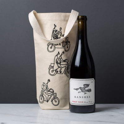 Wine gift tote bag cotton canvas modern graphic print bikers black