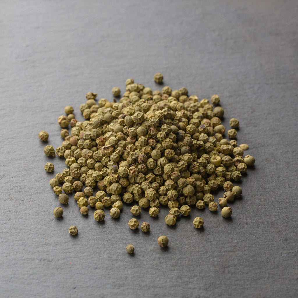 Peppercorns, Green (citrus on the nose, same vines as Tellicherry, medium heat)