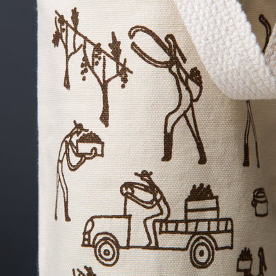 wine gift bag tote canvas modern graphic print vineyard brown detail