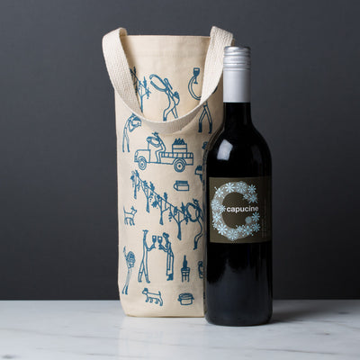 wine gift bag tote canvas modern graphic print vineyard blue