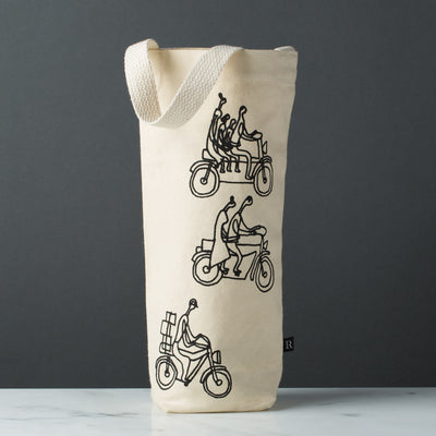 Wine gift bag tote canvas modern graphic print bikers black
